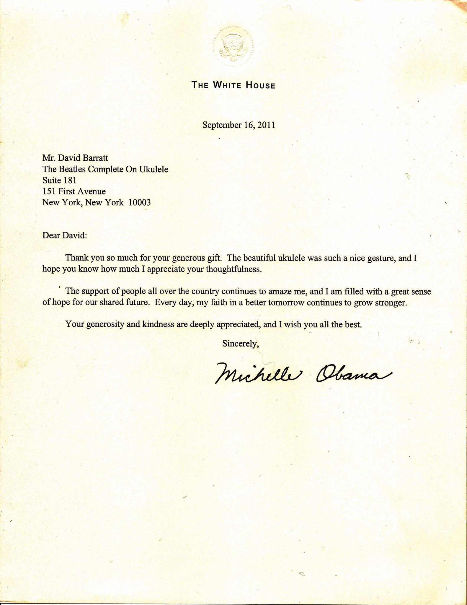 Dankesbrief von Michelle Obama an den Produzenten von TBCOU, David Barratt